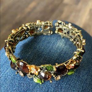 VTG Floral Rhinestone Bracelet